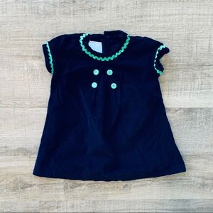 Bonpoint Navy Blue Corduroy Dress Green Trim